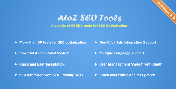 AtoZ SEO Tools 3.1 Nulled - Search Engine Optimization Tools